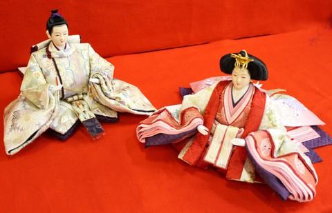 帯地雛 壱千八百織物千菊文様 雛人形
