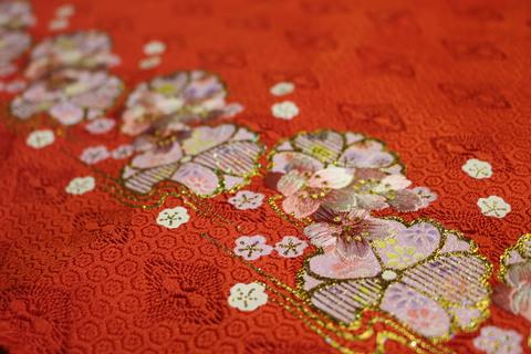 京金彩と刺繍を施した、衣装生地です。生地だけで3職種の仕事が入っています。